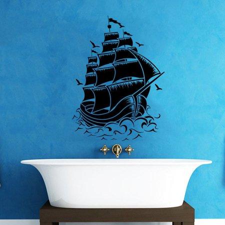 Stickalz llc Pirate Ship Bathroom Vinyl Sticker Wall Art - Walmart.com
