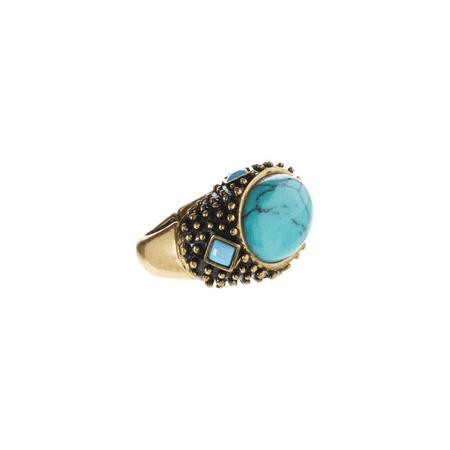 Lux Accessories Turquoise   Goldtone Milgrain Stretch Ring