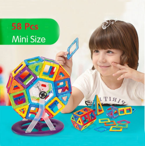 58PCS Magnetic Car Construction Building Toys Children Educational Blocks Multicolor by Generic