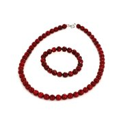 Coastal Jewelry Sterling Silver Red Dyed Coral Faceted Jewelry Set