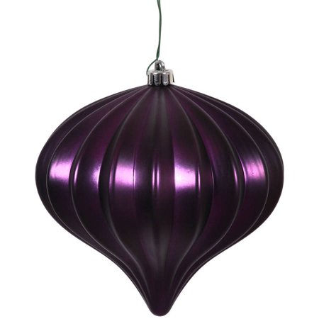 "Vickerman 5.7"" Plum Matte Onion Ornaments with UV-Resistant Finish and Pre-Drilled Cap, Set of 3"