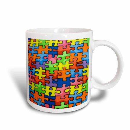 - 3dRose Red Orange Green Blue Yellow Puzzle Pieces, Ceramic Mug, 11-ounce