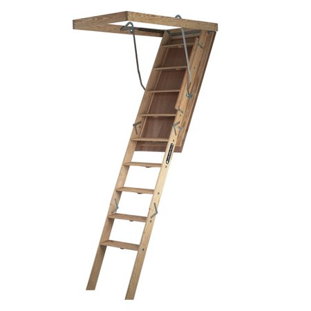 Wood Attic Ladder - Louisville Ladder S305P 8 ft. 9 in Wood Attic Ladder, 350 lbs. Load Capacity