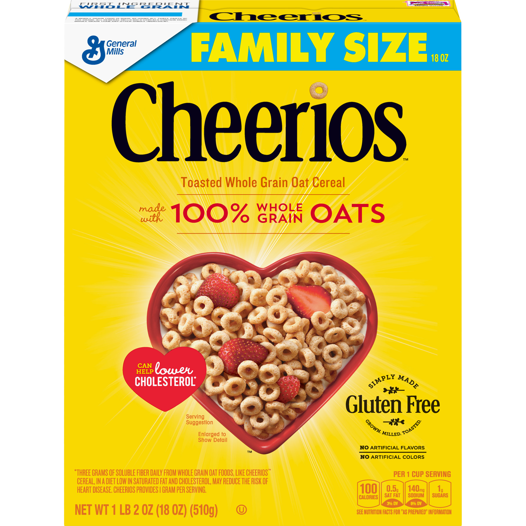 Cheerios, Gluten Free, Breakfast Cereal, Large Size, 18 oz Box