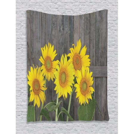 Sunflower Decor Wall Hanging Tapestry Helianthus Sunflowers Against Weathered Aged Fence Summer Garden Photo Print Bedroom Living Room Dorm