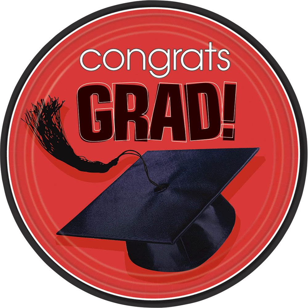 "Congrats Grad Red 9"" Luncheon Plates (18 Pack)- Graduation Party"