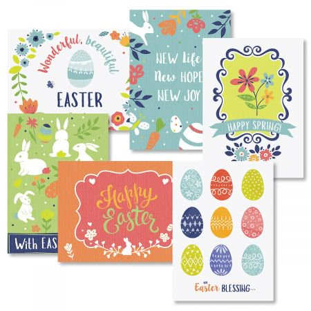 Easter Colors Greeting Cards Value Pack - Set of 12 (6 designs), Large 5