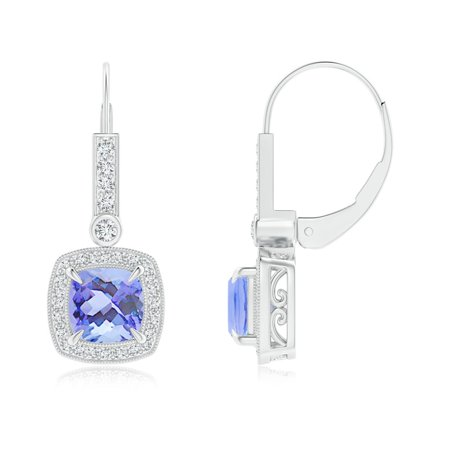b1c5bc01a2bbee Angara - Women's Day Sale - Vintage-Inspired Cushion Tanzanite Leverback  Earrings in 14K White Gold (6mm Tanzanite) - SE1475TD-WG-A-6 - Walmart.com