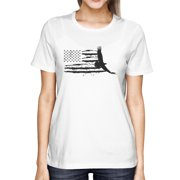US Map With an Eagle Graphic Women's White T-Shirt