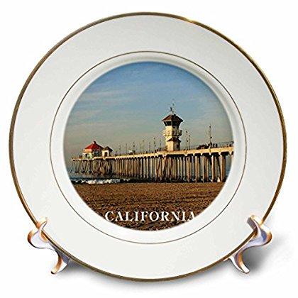 3dRose Pier At Huntington Beach California, Porcelain Plate, 8-inch ()