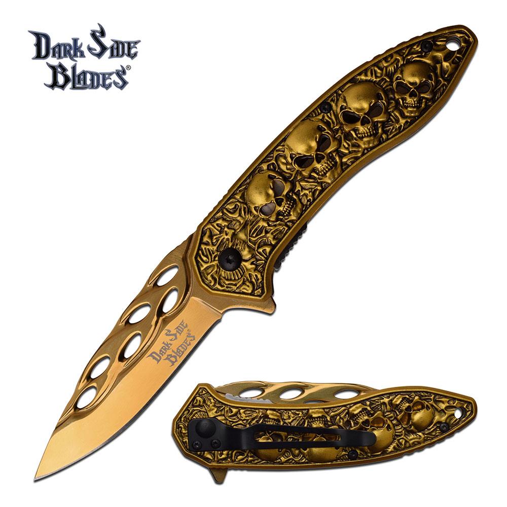 Dark Side Blades Assisted Opening Gold Titanium Skull Pocket Knife