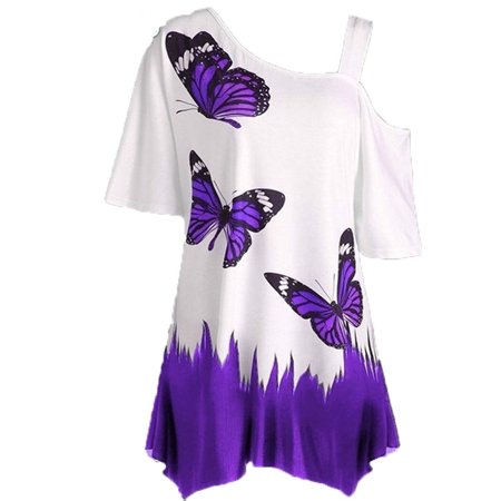 Womens Fashion Sexy Butterfly Print Loose Tunic T-shirt - Pink Satin Ladies