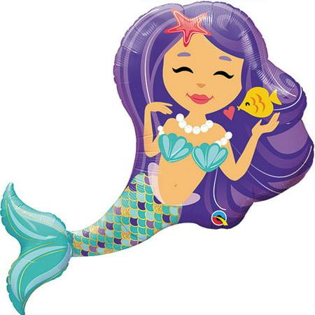 Little Mermaid Purple Foil Balloon - Little Mermaid 1st Birthday Party Supplies