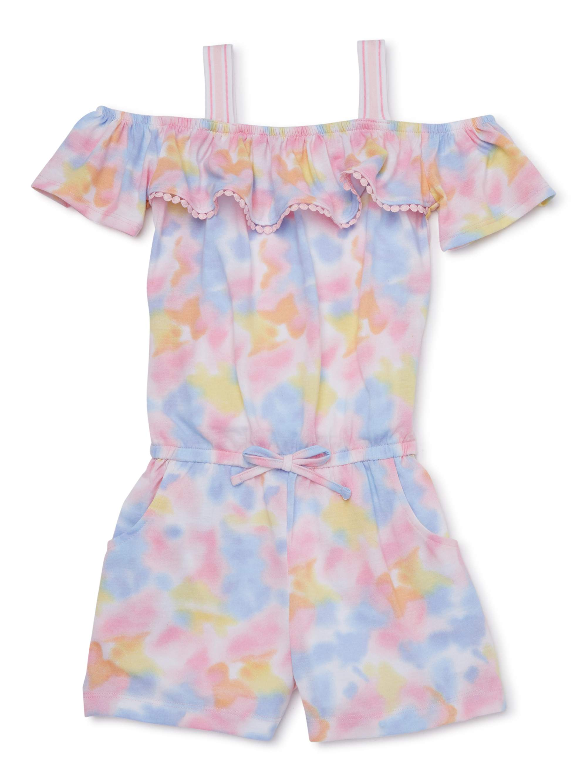 Real Love Little Girls Coral Floral Print Tassel Off-Shoulder Romper 4-6X