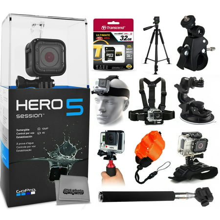 gopro hero5 session chdhs 501 with 32gb ultra memory 60 pro series tripod bike motorcycle. Black Bedroom Furniture Sets. Home Design Ideas