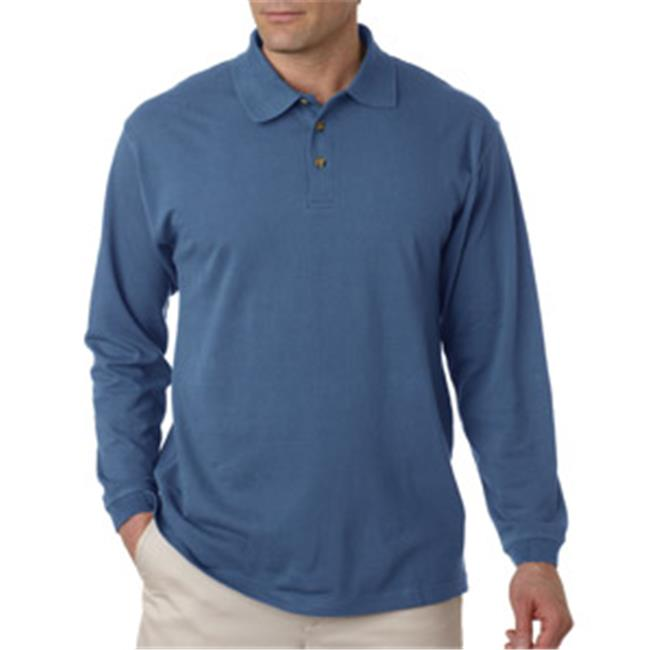 UltraClub 8532 Adult Long-Sleeve Classic Pique Polo - Storm Blue, 4XL
