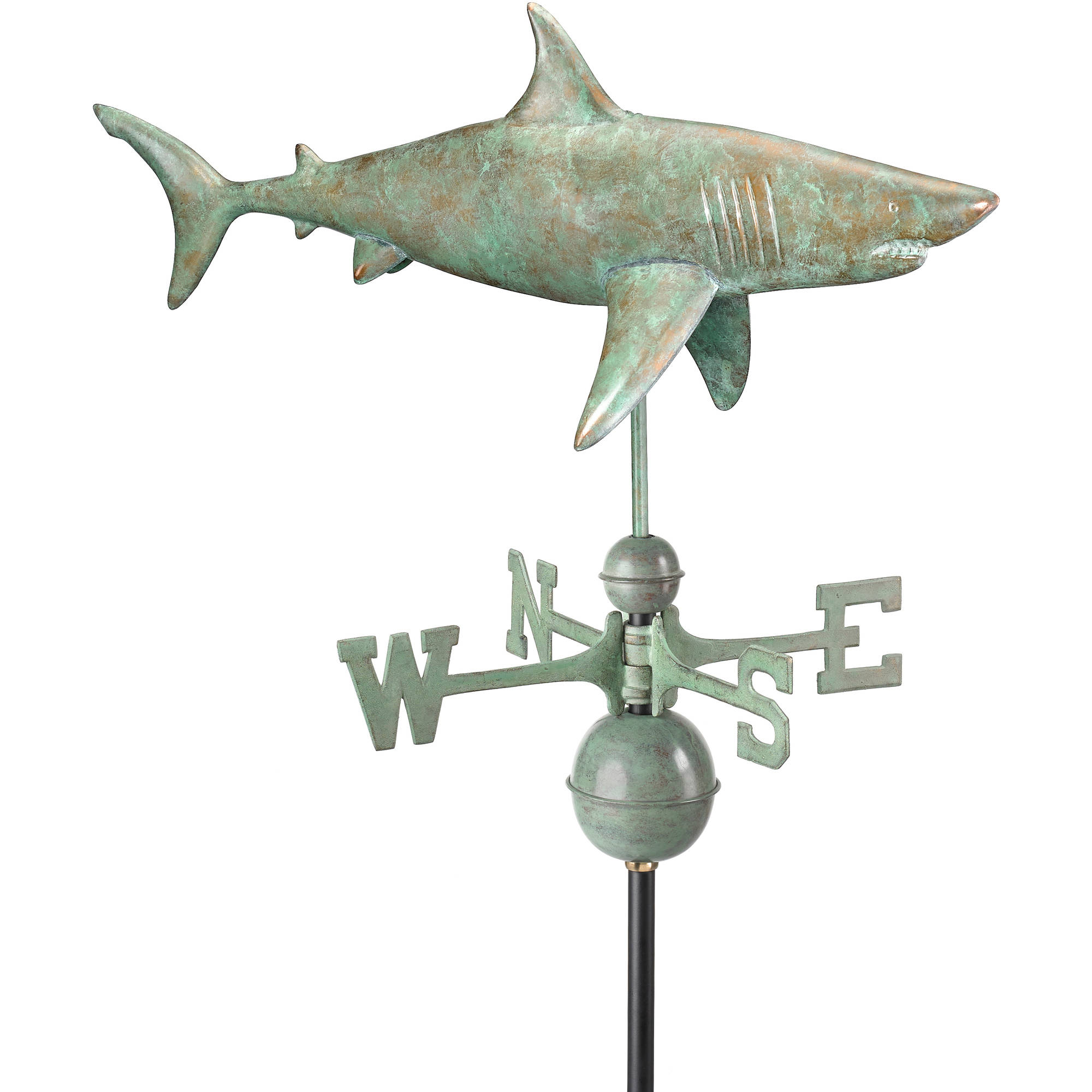 Shark Weathervane Blue Verde Copper by Good Directions by Good Directions