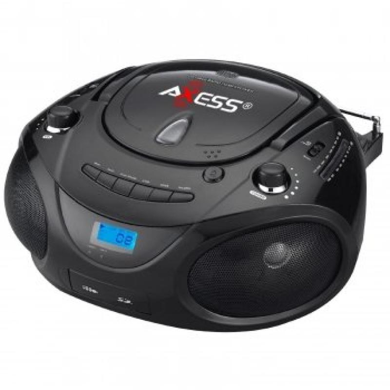 Axess Black Portable Boombox MP3 CD Player with Text Display,with AM FM Stereo, USB SD MMC AUX Inputs by Axess