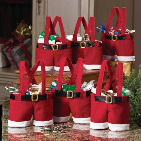 Festive Santa Pants and Suspenders Holiday Goodie Bags - Easy and Unique Gift Wrapping Ideas for Anyone - Gift Bags Ideas