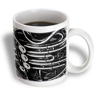 3dRose French horn valve tubing black and white, Ceramic Mug, 11-ounce