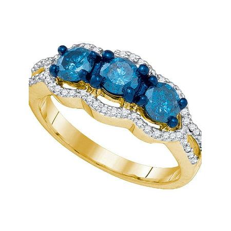 10kt Yellow Gold Womens Round Blue Color Enhanced Diamond 3-stone Bridal Wedding Engagement Ring 1-1/5 Cttw - image 1 de 1
