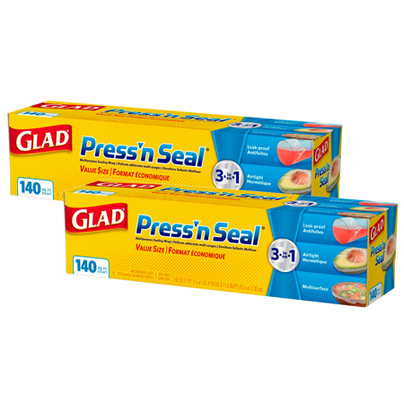 (2 pack) Glad Press'n Seal Food Plastic Wrap - 140 sq ft - Fold Wrap