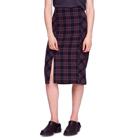 Wear Plaid Skirt - Multi Women's Slit Plaid Pencil Skirt 2