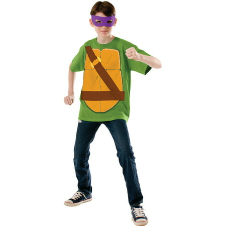 Child's Boy's Teenage Mutant Ninja Turtles TMNT Donatello Shirt Eyemask Costume (Ninja Turtle Costume Shirt)