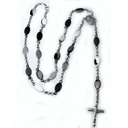 Traditional Mens Cross (R.H. Jewelry Stainless Steel Traditional Cross Rosary Beads Y Necklace for)