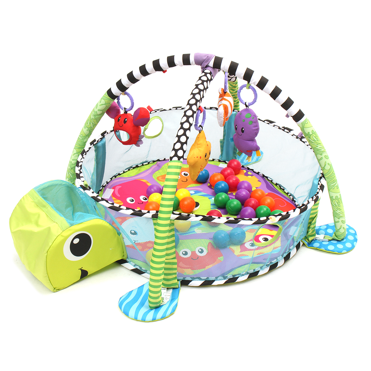 Baby Activity Gym Game Center Turtle Play Mat Infant Hanging Toys Toddler Balls Pit Grow Development Station