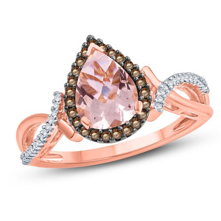 5/8 ct tw champagne diamond with pear shape morganite ring in 10k rose gold.