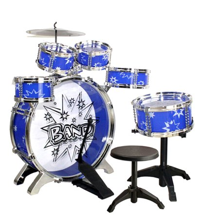 blue children jazz drum set with cymbals stands boys toy drum kit gift. Black Bedroom Furniture Sets. Home Design Ideas