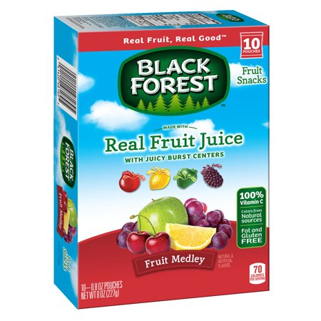 - (2 Pack) Black Forest, Juicy Burst Mixed Fruit, Fruit Snacks, 0.8oz, 10 count