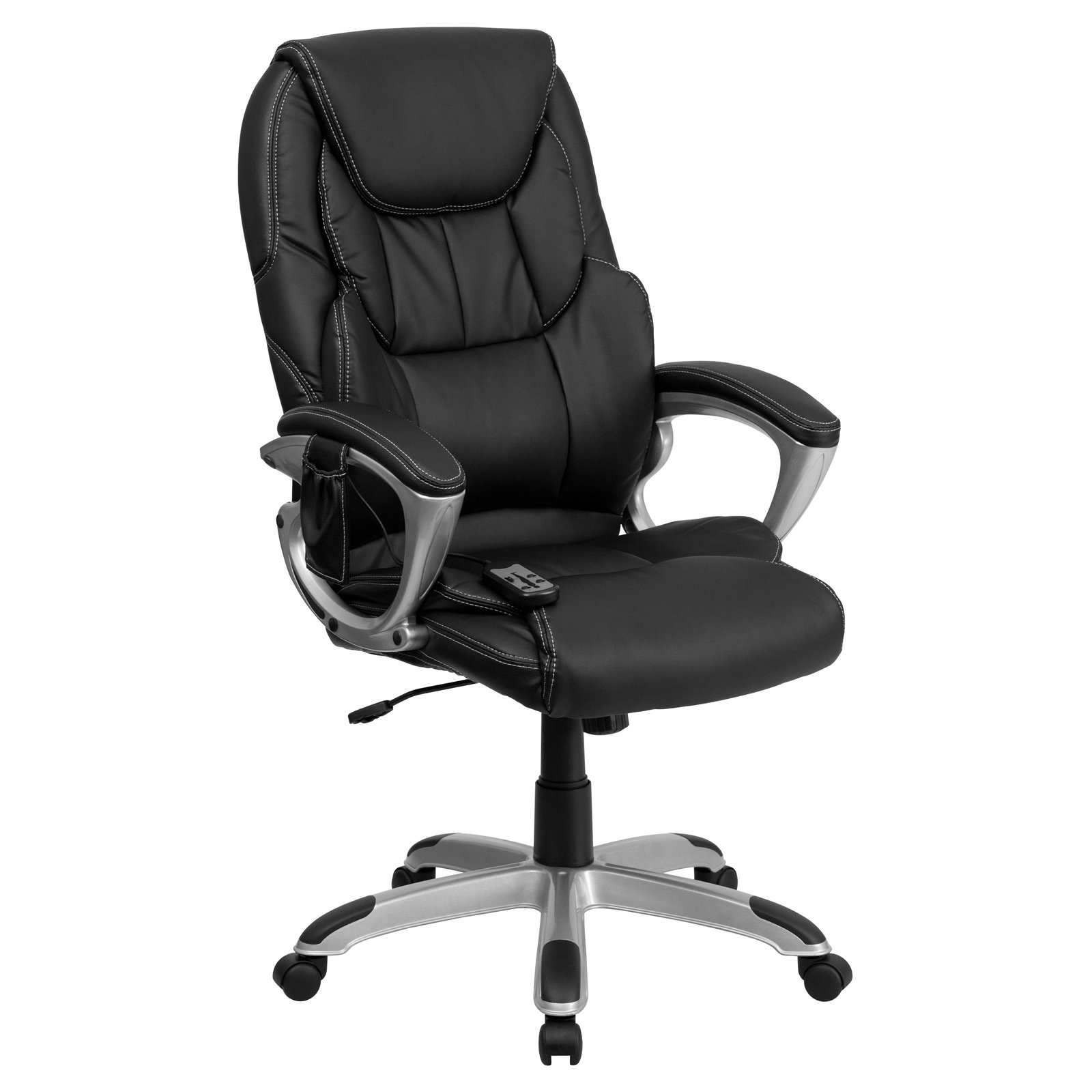 Flash Furniture High Back Massaging Leather Executive Office Chair With  Silver Base, Black