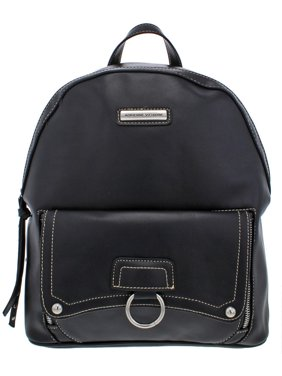Adrienne Vittadini Womens Faux Leather Adjustable Backpack Black O/S
