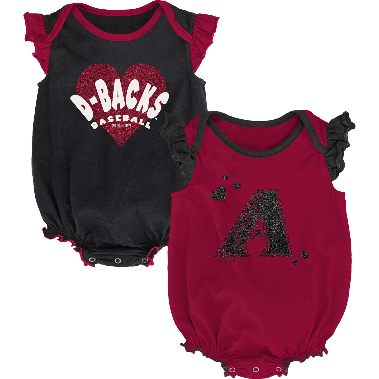 Arizona Diamondbacks Girls Newborn & Infant Double Trouble Two-Pack Bodysuit Set - Red/Black