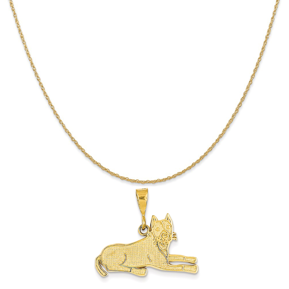 "14k Yellow Gold Pit Bull Pendant on a 14K Yellow Gold Rope Chain Necklace, 16"" by Mireval"
