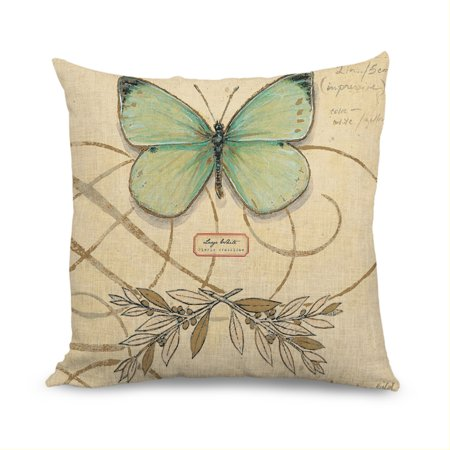 Pillow Cover for Sofa Vintage French Dragonfly and Butterfly Accent Pillows Decorative Zippered Pillow Sham Cushion Cover 18x18