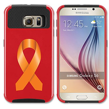 For Samsung Galaxy (S6 Edge + Plus) Shockproof Impact Hard Soft Case Cover Leukemia Cancer Multiple Sclerosis Kidney Cancer Color Awareness Ribbon (Red)