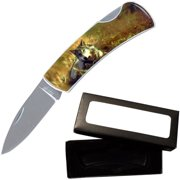 "Joy Enterprises FP20705 Fury Animal Litho Folding Pocket Knife with Presentation Box, 3.5"", Wolf"