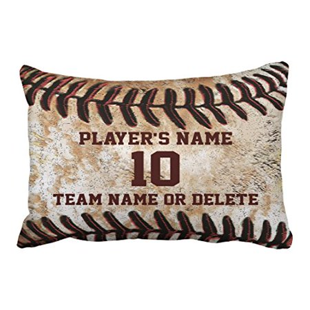 WinHome Vintage Chic Personalized Senior Baseball Can Customized For Gift Polyester 20 x 30 Inch Rectangle Throw Pillow Covers With Hidden Zipper Home Sofa Cushion Decorative Pillowcases for $<!---->