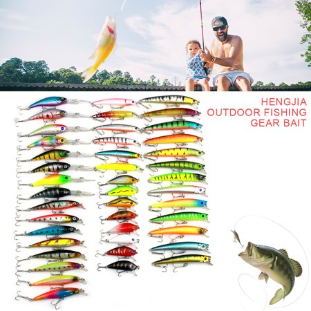 New Lot 43pcs Kinds Of Fishing Lures Crankbaits Hooks