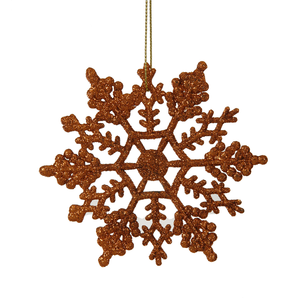 Club Pack of 24 Burnt Orange Glitter Snowflake Christmas Ornaments 4""