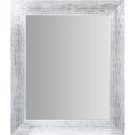 Textured White and Silver Framed Accent Wall Mirror 16