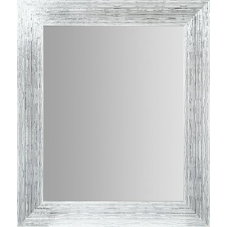 16x20 Textured White and Silver Framed Accent Wall Mirror
