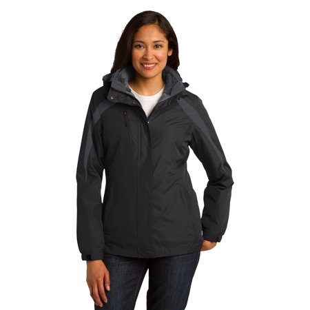 Port Authority® Ladies Colorblock 3-In-1 Jacket. L321 Black/ Black/ Magnet Grey - image 1 of 1