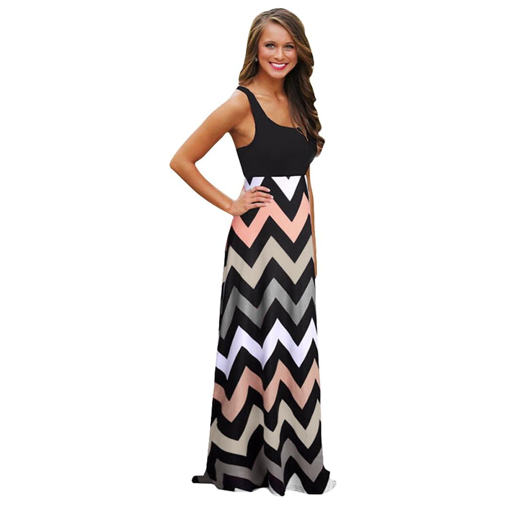 s summer boho chevron maxi dress evening