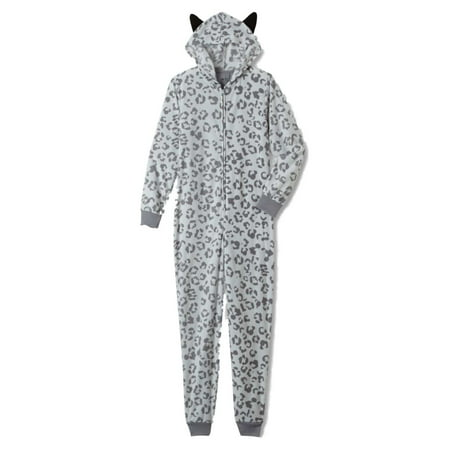 Womens Gray Leopard Print Blanket Sleeper Hooded Pajama Union Suit With - Leopard Onesie For Women