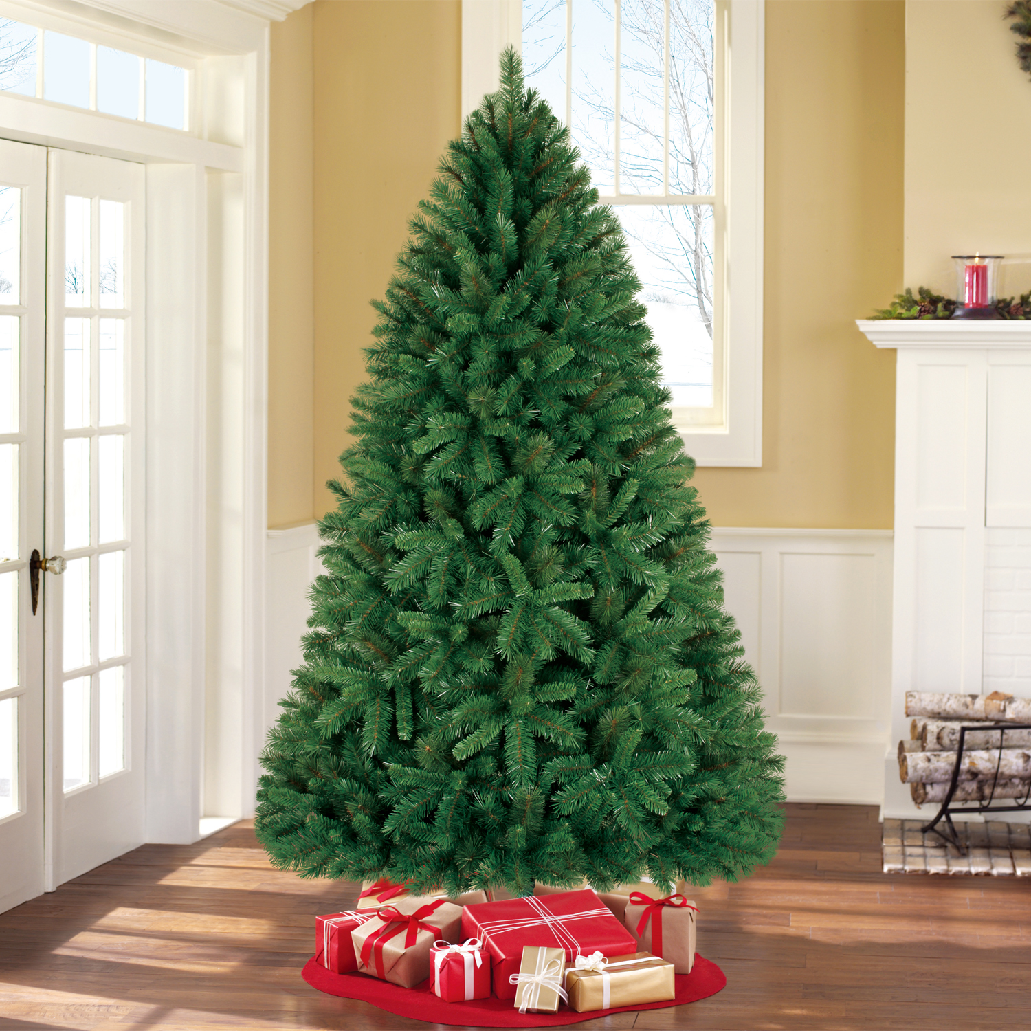 Holiday Time Unlit 7.5\' Donner Fir Artificial Christmas Tree ...