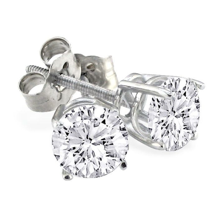2ct Diamond Stud Earrings Set in Platinum. Excellent Value by SuperJeweler